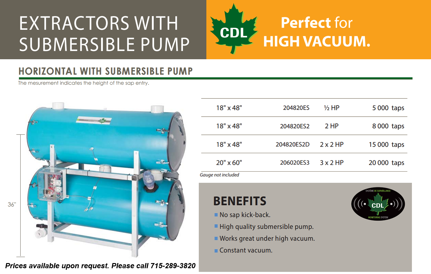 18x48 horizontal with submersible pump-info